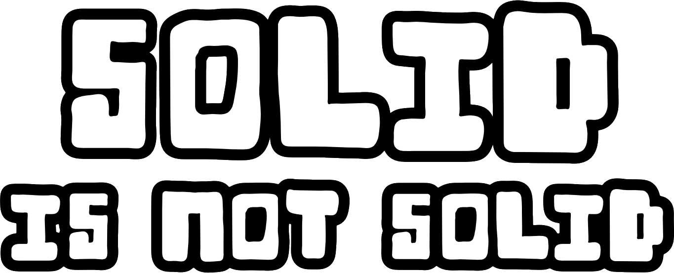 Graphics showing the book title 'SOLID is not Solid'